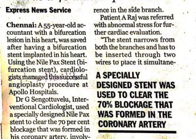 03rd November, 2011 - Bifurcation stent used to save life of 55 yr old man