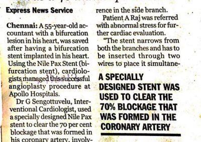 03rd November, 2011 - Bifurcation stent used to save life of 55 yr old man