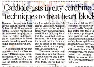 11th October, 2014 - Cardiologists in city combine 2 techniques to treat heart block