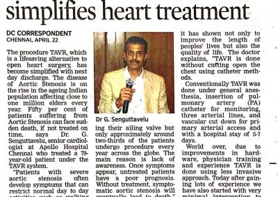 22nd April, 2018 - Doc Less invasive method simplifies heart treatment