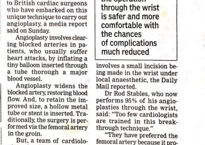 14th March, 2011 - Performed through wrist, heart surgery gets safer, simpler