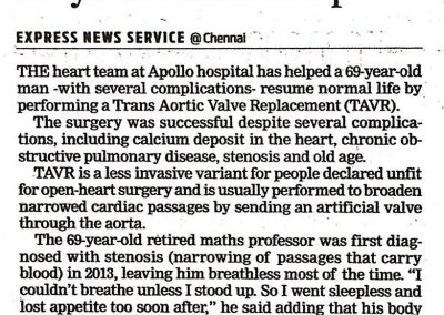 30th April, 2017 - TAVR performed on 69 year old man at Apollo