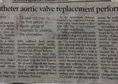 10th February, 2010 - Transcatheter aortic valve replacement performed