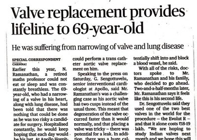 30th April, 2017 - Valve replacement provides lifeline to 69 year old