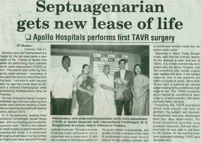 11th February, 2016 - Septuagenerian gets new lease of life