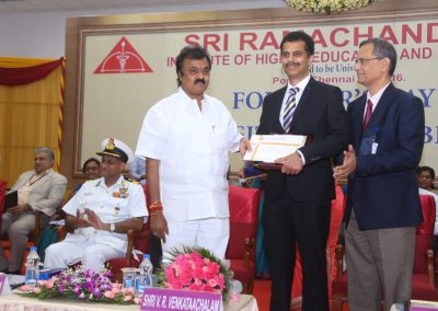 Receiving Distinguised Alumani Award from Ramachandra University